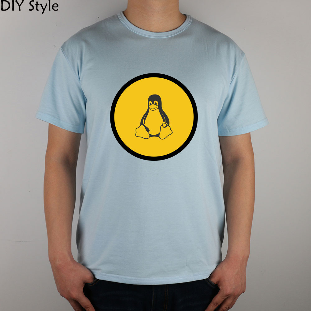 Yellow Circle Penguin Freebsd Linux t-shirt Cotton Lycra Top(China (Mainland))