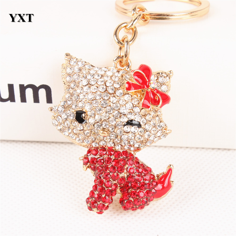 Body Red Butterfly Hello kitty Cat Cute Crystal Charm Purse Handbag Car Key Ring Keychain Party Wedding Birthday Delicate Gift(China (Mainland))