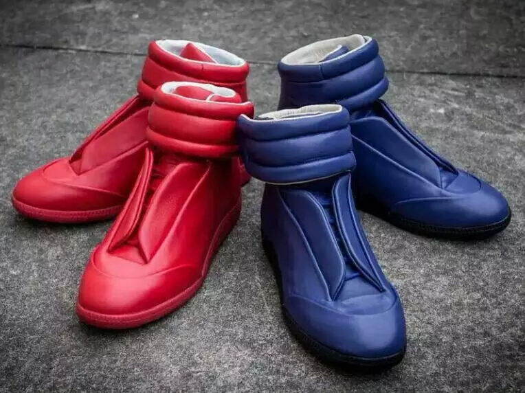 Maison Martin Margiela men sneakers Kanye West blue/red high top leather flats lace fashion street shoes - TOP Fashion Space for You store