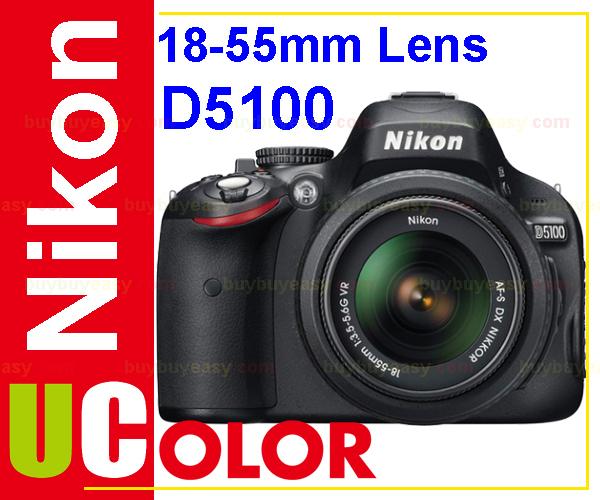 Original New Nikon D5100 16.2 MP Digital SLR Camera Body & AF-S 18-55mm VR Lens KIT BLACK(Hong Kong)