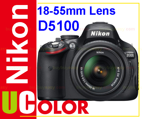 Original New Nikon D5100 16.2 MP Digital SLR Camera Body & AF-S 18-55mm VR Lens KIT BLACK(Hong Kong)