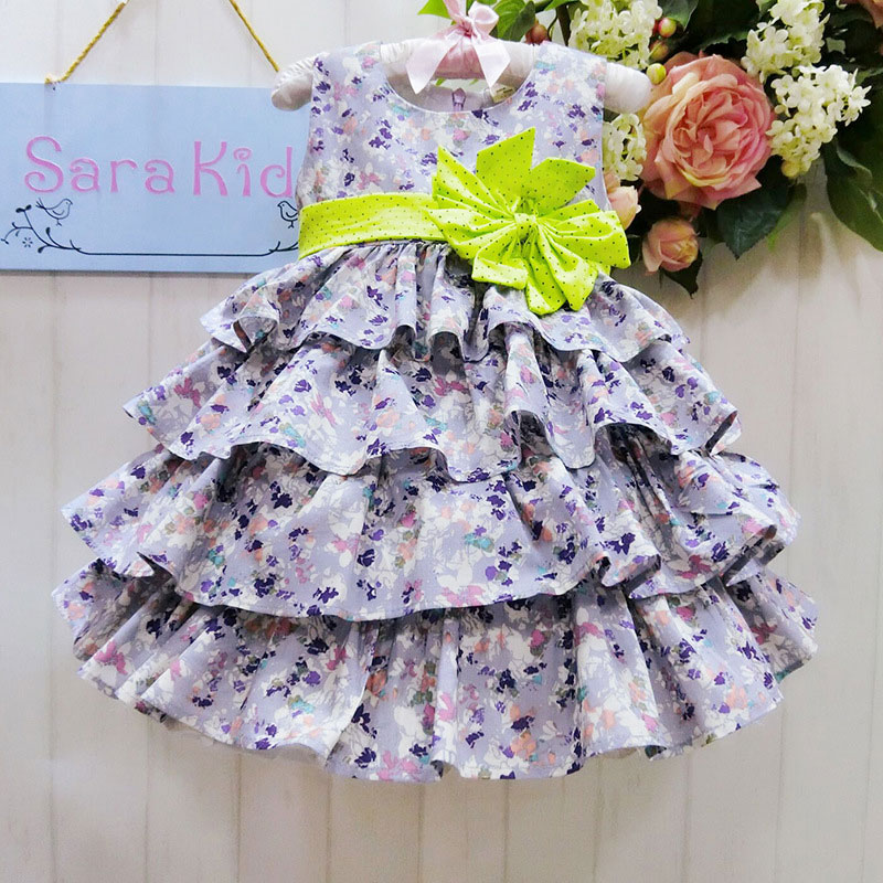 Wholesale sleeveless floral print ball gown baby girls dress  party dress evening dress  2014999