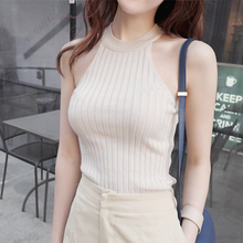 Hot Sale Crop Top Women 2015 Halter Top Cropped Debardeur Femme Knitted Blouses Cotton Vest Womens Off Shoulder Sexy Tops(China (Mainland))