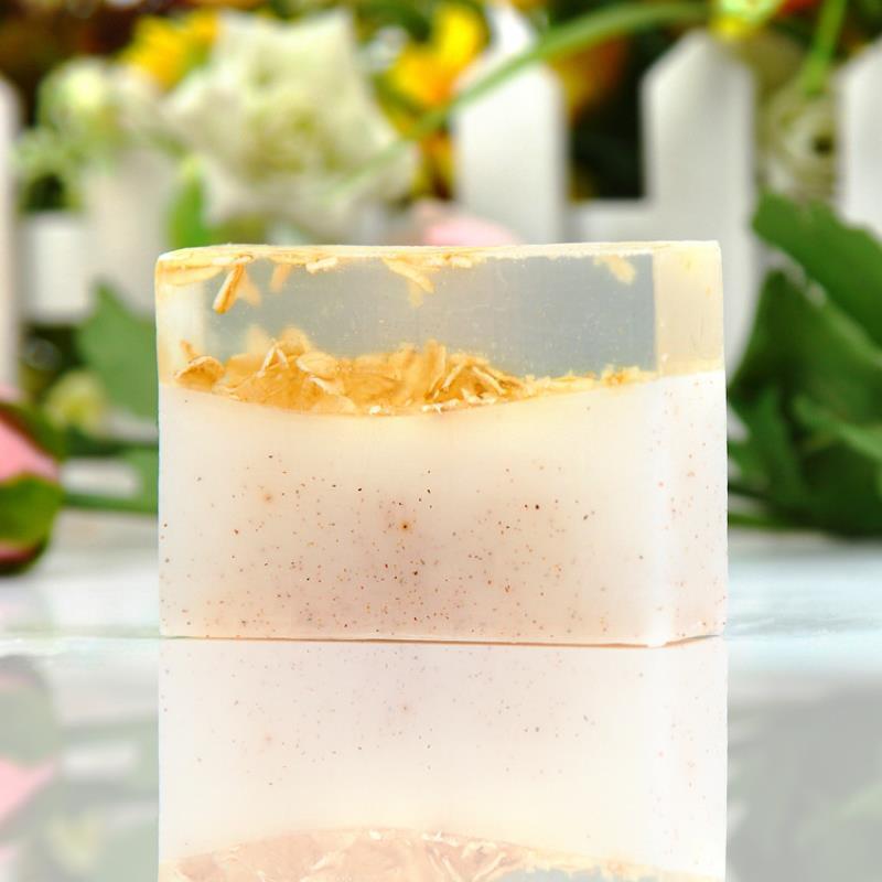Bathroom sink bath sabonete Walnut Flour + oatmeal Essential oils bathing Perfumed soap detalles boda regalos(China (Mainland))