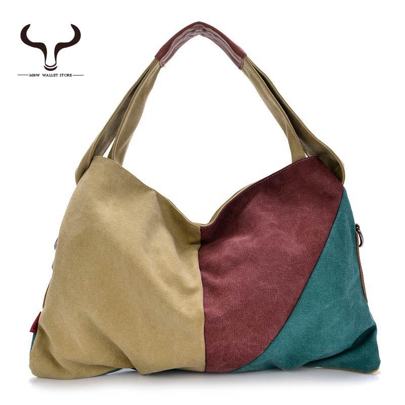Canvas Totes High Capacity High Quality Fashion Women Handbags Patchwork Casual Tote Messenger Crossbody bags BDKX/1259(China (Mainland))