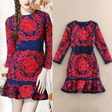 New 2016 spring autumn luxury brand vintage fashion embroidery women girls mermaid dress long sleeve sexy casual dresses(China (Mainland))