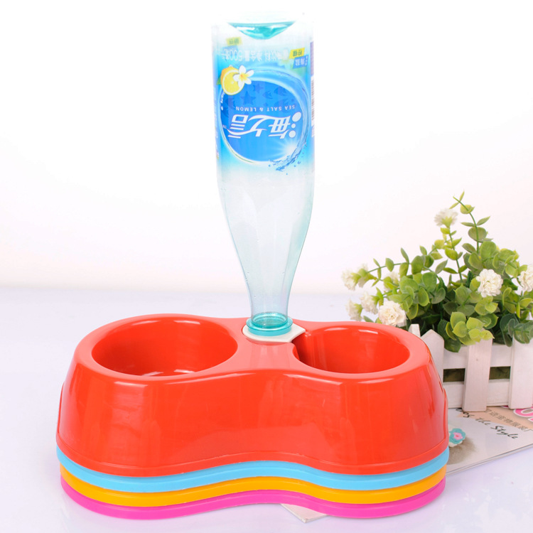 New Dual Port Dog Automatic Water Dispenser Feeder Utensils Bowl Cat Drinking Fountain Food Dish Pet Bowl CF071(China (Mainland))