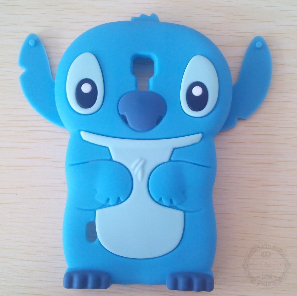 Lovely 3D Cartoon Soft Rubber Skin Silicon Silicone Cute Stitch Case Cover LG Optimus L7 II Dual P715 Movable Ear