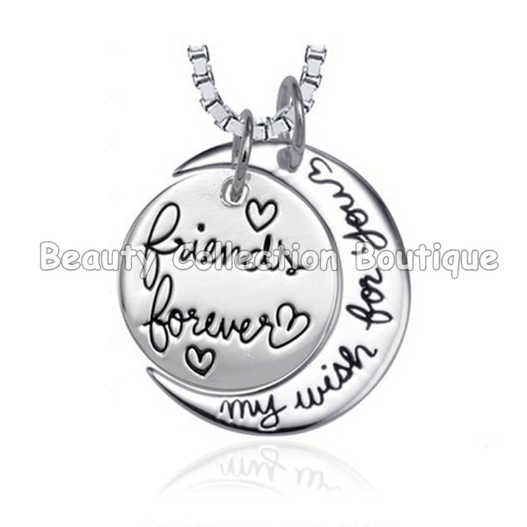 2015 Fashion Friends Forever My Wish For You Silver Pendant Necklace Women Gift Box Chain Necklace Jewelry 12Pcs/Lot(China (Mainland))