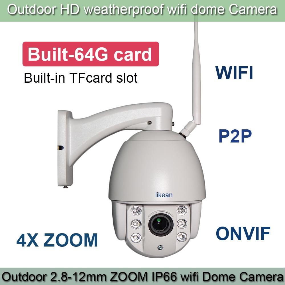 Free Shipping 1.3M Wireless WIFI IP Camera 960P 64G TFCard 2.8-12mm 4X Optical Zoom IR Onvif IP Camera PTZ Outdoor IP66 LIKEAN(China (Mainland))