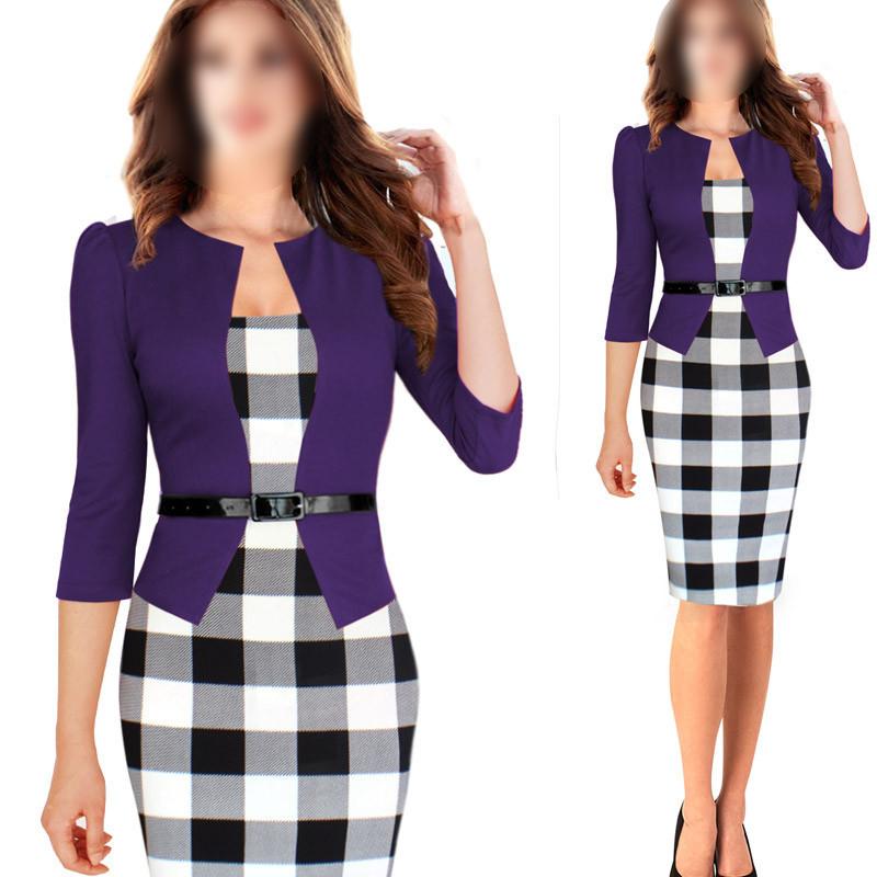 FAAJ 5 x Women Summer Elegant Belted font b Tartan b font Patchwork Tunic Work Business
