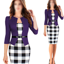 FAAJ 5 x (Women Summer Elegant Belted Tartan Patchwork Tunic Work Business Casual Party Bodycon Pencil Sheath Dress Purple S