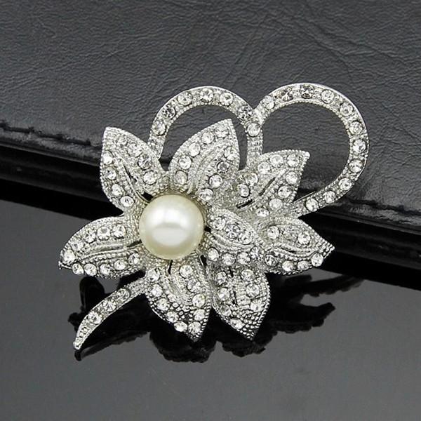 12PCS  Women Christmas Gift Fashion Alloy Brooch Silver Flower Crystal Jewelry Rhinestone Brooch Women Brooch For Wedding