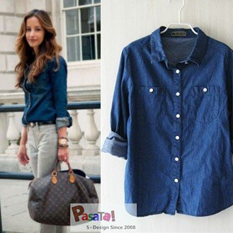 Pics for denim shirt fashion women for Blue denim shirt for womens