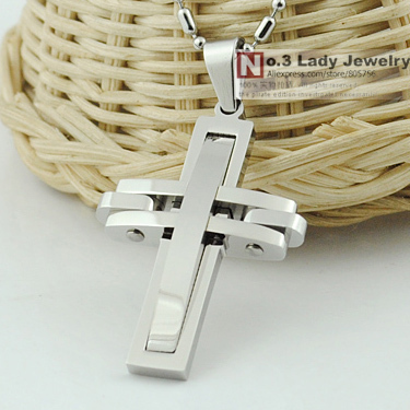 Free shipping, Fashion Metal 316l stainless steel Cross Pendant Necklace for men women Jewelry 2016,  Wholesale WP313