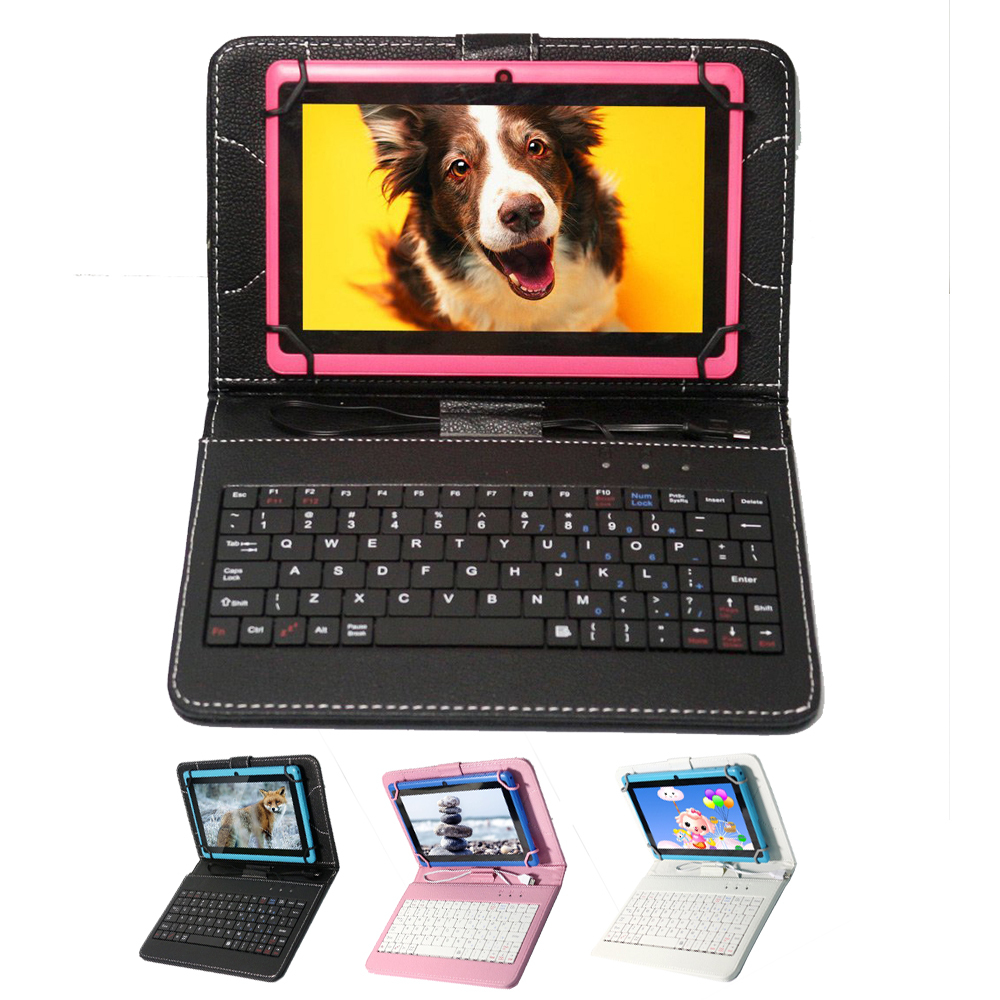 China and USA warehouse black white pink 3 optional color 9 inch tablet keyboard case wihth USB cable or 9 inch tablet(China (Mainland))