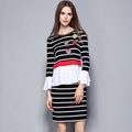 High Quality Autumn Spring Slim Pullover Peplum Evening Dress Women Clothing 2 pieces Set Stripe Flower