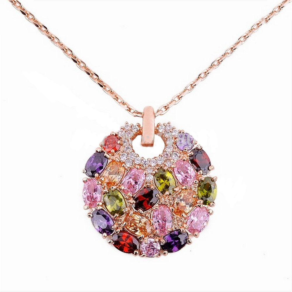 Mona Lisa Style Multicolore Cubic Zircon Crystal Lady's Rose Gold Plated Chain Pendant Necklace For Women(China (Mainland))