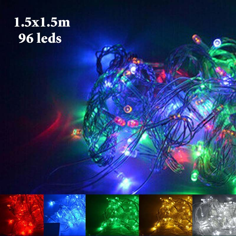 Free Shipping 220V Led String Christmas Lights 1.5*1.5m 96leds Garden Night Lights Halloween Lamp for Holiday/Decoration Outdoor(China (Mainland))