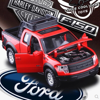 New Ford F150 Raptor 1:32 Pickup truck Simulation alloy car toy Flashing Pull Back Baby Toy Trailer Collection Classic cars(China (Mainland))