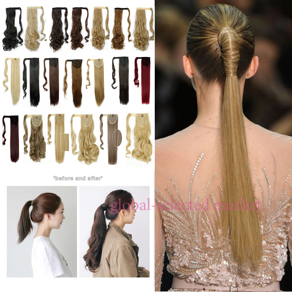 "Women Ponytails 13 Colors Fashion Hairpiece 23"" 58cm Long Straight Synthetic Lady Wrap Around Ponytail Hair Extensions Hairpiece(China (Mainland))"