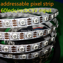 Buy SK6812 addressable rgb led strip light, 60LEDs/m, 60Pixels/m, 4M/roll, DC5V input, White PCB, non-waterproof IP20 for $34.66 in AliExpress store