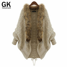 Buy GONZETANNK 2017 New Winter Cardigan Jacket Loose Sweater Womens Coat Sweaters Female Bat Knitted Fur Collar Cardigans One Size for $22.20 in AliExpress store