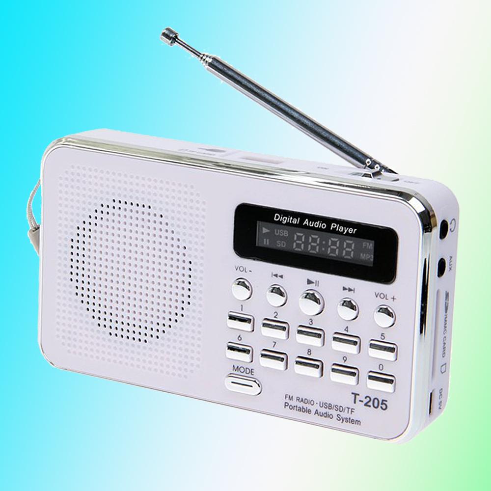 Hot Selling T-205 Portable HiFi Card Speaker Digital Multimedia Loudspeaker FM Radio White Camping Hiking Outdoor Sports(China (Mainland))