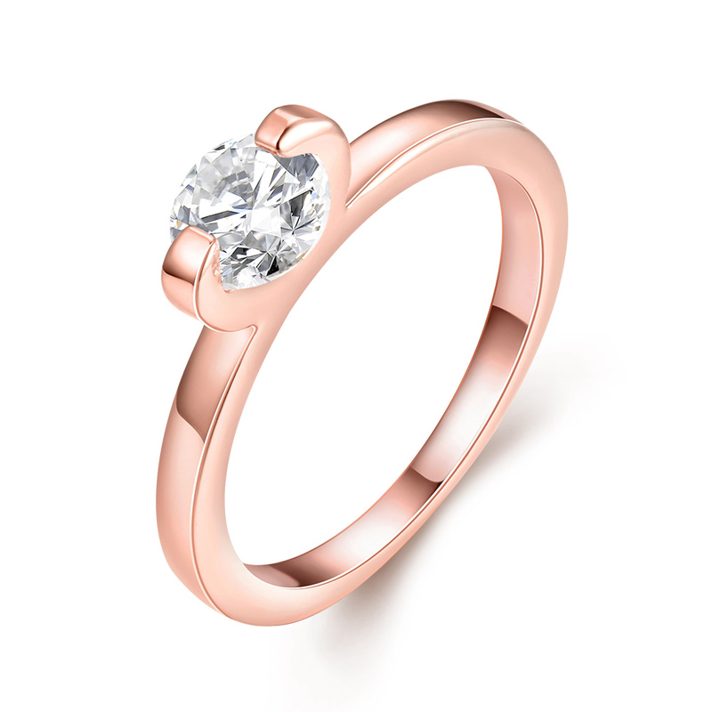 Female Classic Wedding Ring With Zircon Rose Gold Plated Simple Style Crystal