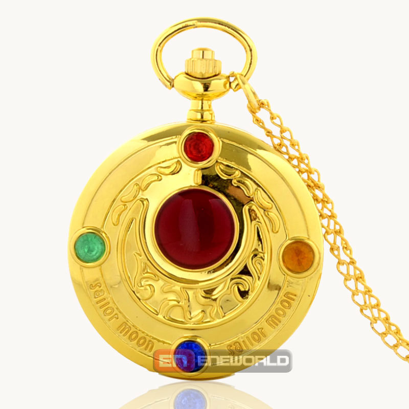 Cassio Gold Star Sailor Moon Pendant Necklace Quartz Pocket Watch Relogio Femininos Dourado P549