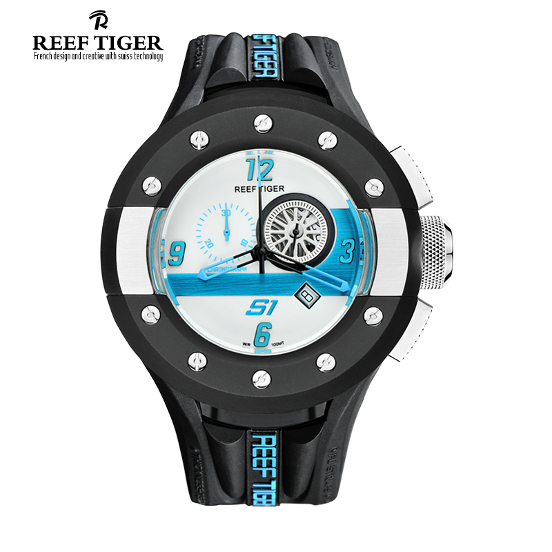 Reef Tiger/RT Mens Chronograph and Sport Watches White Dashboard Dial Swiss Quartz Movement Watch with Date RGA3027(China (Mainland))