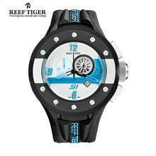 Reef Tiger/RT Mens Chronograph and Sport Watches White Dashboard Dial Swiss Quartz Movement Watch with Date RGA3027