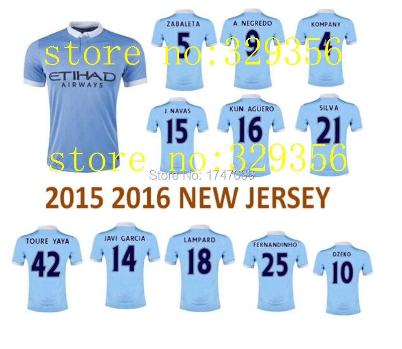 top quality 2015 2016 15 16 cheap Manchester kun Aguero Dzeko City camiseta man soccer jersey football custom name home away(China (Mainland))