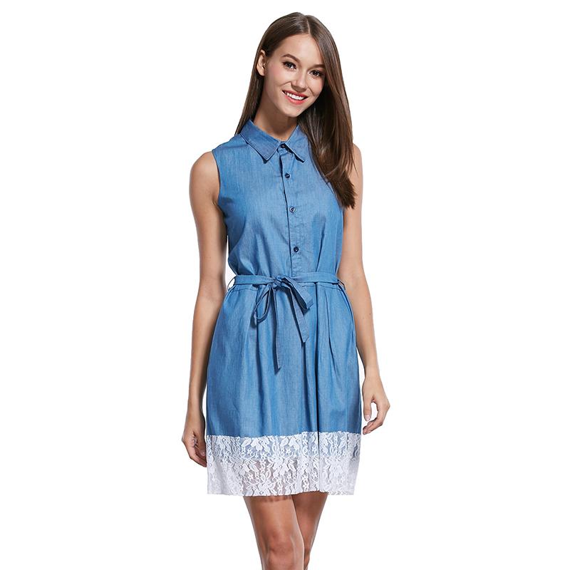 Women's 2016 Elastic Waist Denim Shirt Dress lady Rollable Sleeveless lace patchwork Denim mini Casual Women Jean belt Dresses(China (Mainland))