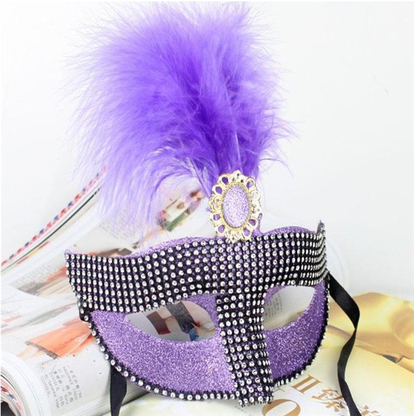 Venetian Feather with Rhinestone Masquerade Halloween Party Mask(China (Mainland))