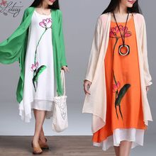 Buy 2017 Spring New Arrival Plus Size Women Retro Long-sleeved O-neck Cotton Linen Printed Dress+ Women Cappa Two-piece Suit 8140 for $17.99 in AliExpress store