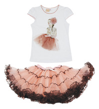 2016 fashion summer children clothing Princess mayoral girls boutique outfits sets ruffle tops short  lace tutu skirt suits(China (Mainland))