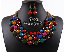 High Quality Full Colorful Bead Multi Layer Short Necklace For Women Special Romantic Jewelry Set For Party(China (Mainland))