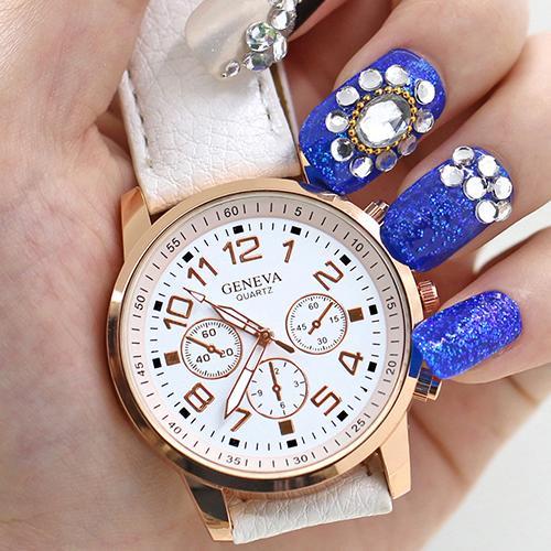 Hot  Mens Womens Geneva Sub-Dials Faux Leather Strap Quartz Analog Wrist Watch <br><br>Aliexpress