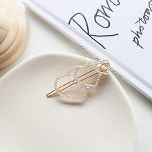 Pinces à cheveux géométriques en métal de mode chaude Barrette Simple Style coréen Imitation perle épingles à cheveux accessoires de cheveux à la main Hairgrip(China)