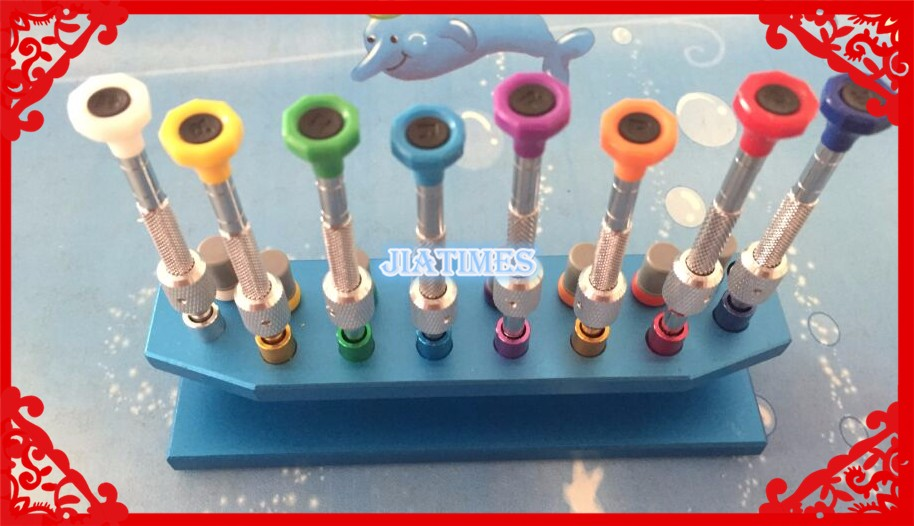 New 8pcs High Quality Metal Watch Screwdriver Set with Screwdriver Booster Comes in a Metal Stand for Watch Repair