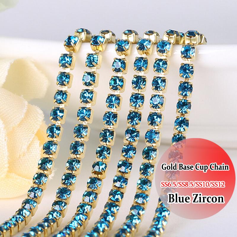 Crystals Blue Zircon crystal rhinestone chain trimming Gold Base chain DIY Sewing On Chain SS12 10 Yardsdiy decoration(China (Mainland))