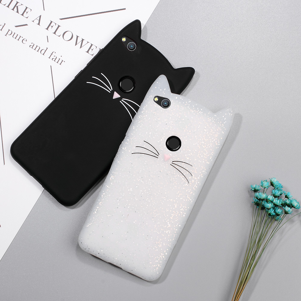 Phone Bag Case for Huawei P8 Lite Cute 3D Mustache Cat Soft Silicone Mobile Casing for Huawei P8 Lite (2017) Black White Pink(China (Mainland))