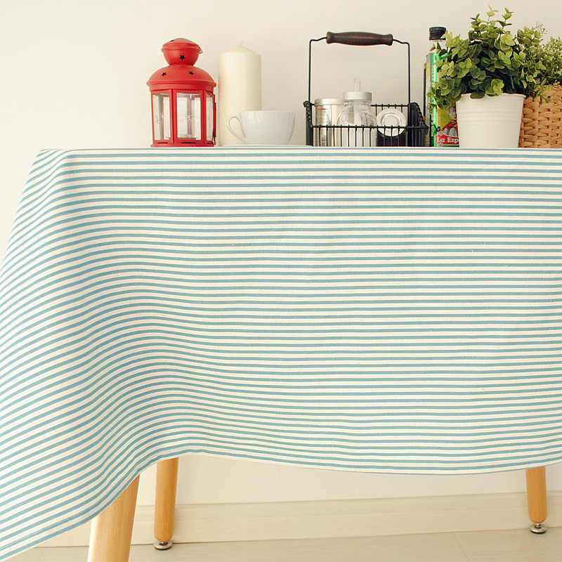 New Arrival Table Cloth Cotton+Linen Mediterranean Style Blue Stripe Dining Table Cover 140*140cm 8 Sizes Accept customized(China (Mainland))