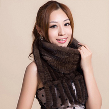 CDS112 Hot sale Real Mink Fur Scarf Women Knitted Natural Mink Fur Scarves Black and Brown color scarf available(China (Mainland))