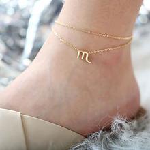 Jeśli mnie wielowarstwowe 12 konstelacji znak zodiaku obrączki dla kobiet dziewczyna złoty plaża kostki bransoletka na nogi moda biżuteria 2019 prezenty(China)
