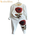 Spring Autumn Sequin Rose Girls Clothes Sets Kids Sport Suit For Girl Baby Long Sleeve Embroidered
