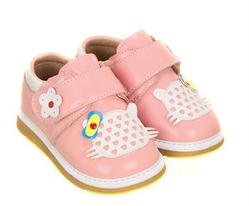 Бренд осень привет котенок коровьей натуральной кожи ходок износостойких / антискользящий малыша мягкой подошве обуви для девочек / / детские