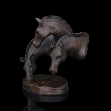Good design home decoration vintage Bronze sculptures Three Horse Bust Heads craft display fengshui figurine   CZW-103(China (Mainland))