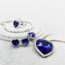 Heart of ocean sapphire jewelry sets women silver plated Crystal rhinestones  Necklace Earrings Jewelry wedding accessories 148(China (Mainland))